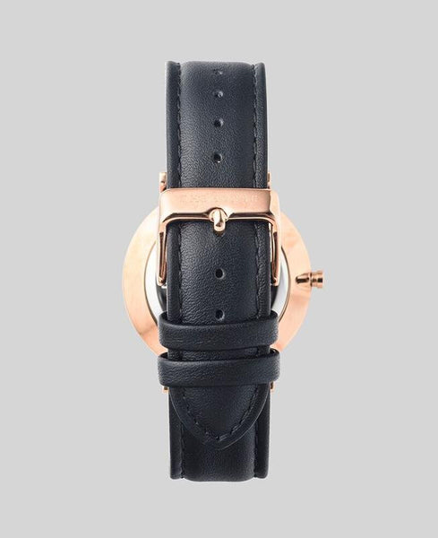 The Horse - The Classic Watch <br>Rose Gold/White Dial/Black Leather Band