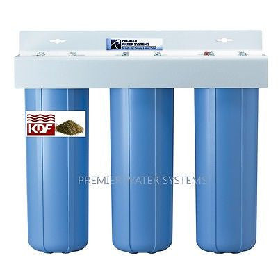 "Big Blue Water Filter - TRIPLE BIG BLUE WATER SYSTEMS, KDF85-GAC,1 Sediment,1"" CONNECTION, Carbon block Water Filter system."