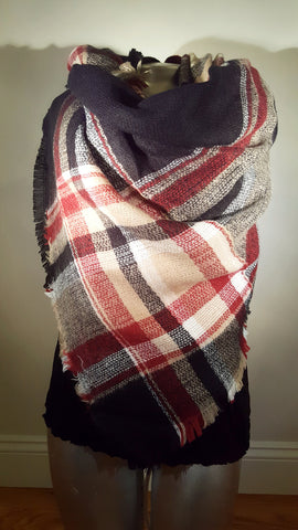 Blanket Plaid Scarf Oversized Tartan Black Red Camel