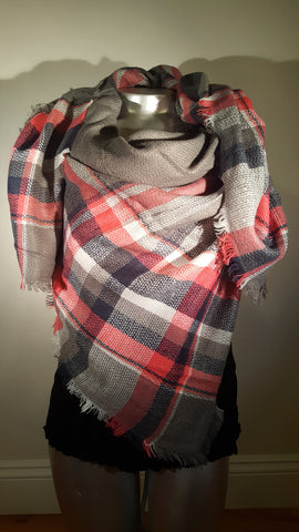 Blanket Plaid Scarf Oversized Tartan Grey Deep Pink modish swag