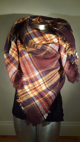 Blanket Plaid Scarf Oversized Tartan Brown Orange White modish swag