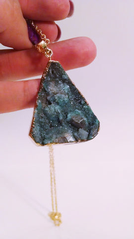Druzy pendant necklace Teal 1 Modish Swag