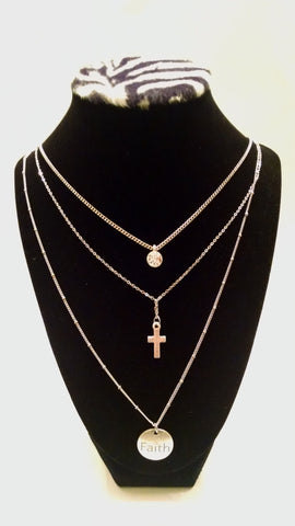 Faith Cross Tiered Necklace