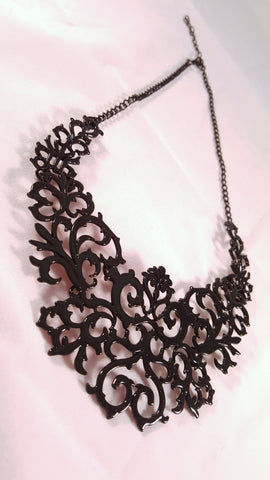 lace detailed bib necklace black modish swag