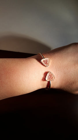 Triangle Druzy Cuff Bracelet Gold Rose Pink modish swag
