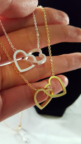 interlocking heart necklace gold or silver