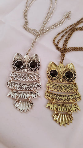 vintage owl pendant necklace silver bronze modish swag