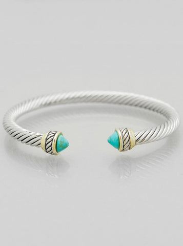 turquoise doublet cable open cuff bracelet modish swag