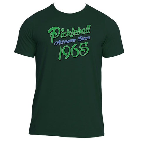 "Pickleball True Pickle Green Color ""Awesome Since 1965"" Performance Shirt - Men's [product _type] Pickleball True - Ultra Pickleball - The Pickleball Paddle MegaStore"