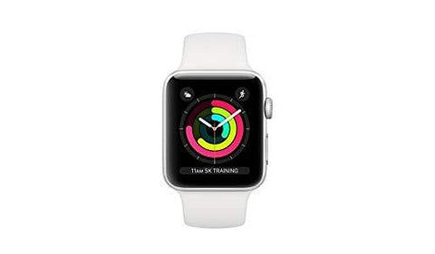 Apple Watch Series 3 38mm GPS + Cellular Silver Aluminum Case with White Sport Band (Renewed)