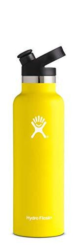 Hydro Flask 21 oz Water Bottle | Stainless Steel & Vacuum Insulated | Standard Mouth with Sport Cap | Lemon