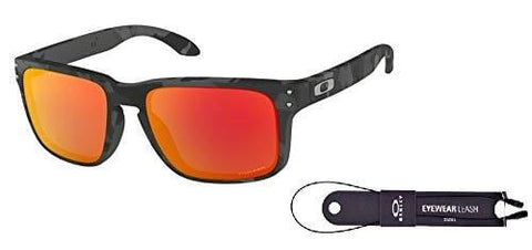 Oakley Holbrook OO9102 9102E9 57M Black Camo/Prizm Ruby Sunglasses For Men For Women+ BUNDLE with Oakley Accessory Leash Kit