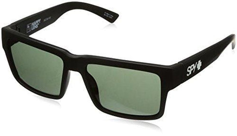 Spy Optic Men's Montana Square Sunglasses, Soft Matte Black/Happy Gray/Green, 1.5 mm
