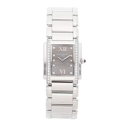 Patek Philippe Twenty-4 Quartz (Battery) Slate Gray Dial Womens Watch 4910/10A-010 (Certified Pre-Owned)