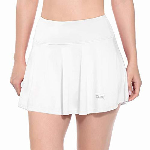 Baleaf Women's Athletic Skort Pleated Tennis Golf Skirt with Pockets White Size S