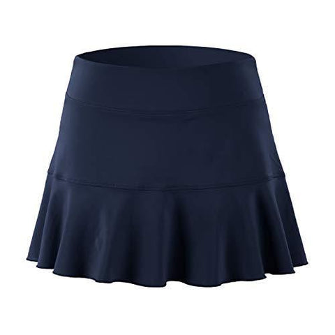 32e-SANERYI Women's Pleated Elastic Quick-Drying Tennis Skirt with Shorts Running Skort (Medium, Navy Blue)