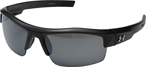 Under Armour Igniter Multiflection Rectangular Sunglasses, Satin Black Frame/Gray Lens, one size