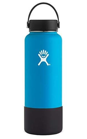 Hydro Flask Wide Mouth Stainless Steel Sports Water Bottle Matching BPA Free Flex Cap and Soft Silicone Flex Boot (Pacific)