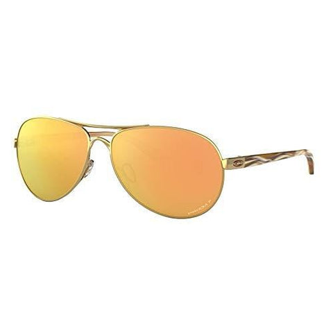 Oakley Women's Feedback Aviator Sunglasses, Polished Gold, 59.0 mm