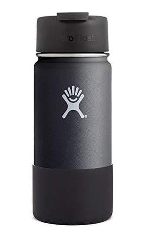 Hydro Flask Wide Mouth Vacuum Insulated Stainless Steel Water Bottle/Travel Coffee Mug with BPA Free Hydro Flip Cap and Soft Silicone Flex Boot (Black)