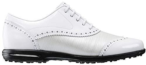 FootJoy Women's Tailored Collection-Previous Season Style Golf Shoes White 9 M Patent/Pearl Linen, US