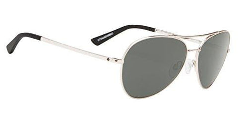 Spy Optics Whistler Aviator Sunglasses, Silver/Happy Gray/Green, 1.5 mm
