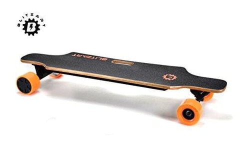 "BLITZART Huracane GT 38"" Dual Electric Longboard Skateboard Samsung Battery 3.5"" PU Wheels Changeable Tires (Orange)"