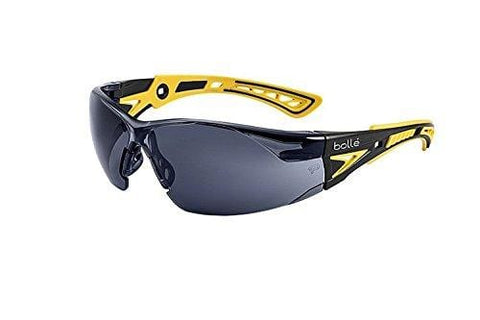 Bolle Safety Rush+ Safety Glasses, Small Yellow & Black Frame, Smoke Lenses