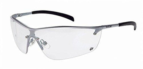 Bollé Safety 253-SM-40073 Silium Safety Eyewear with Silver Metal + TPE Semi-Rimless Frame and Clear Lens