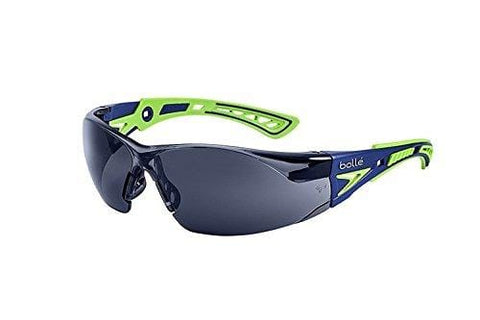 Bolle Safety Rush+ Safety Glasses, Blue & Green Frame, Grey Lenses
