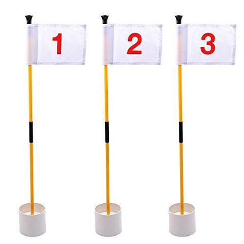KINGTOP Practice Putting Green Flagstick, Portable Golf Pin Flags, 2-Section Design, Indoor/Outdoor, Triple-Pack, Solid White Flag, Red Numbered #1, 2, and #3 [product _type] KINGTOP - Ultra Pickleball - The Pickleball Paddle MegaStore