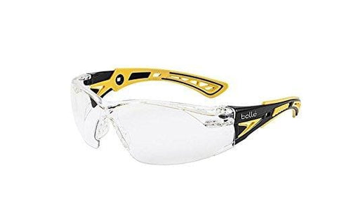 Bolle Safety Rush+ Safety Glasses, Small Yellow & Black Frame, Clear Lenses