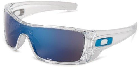 Oakley Men's Batwolf Rectangular Sunglasses,Clear Frame/Ice Iridium Lens,one size