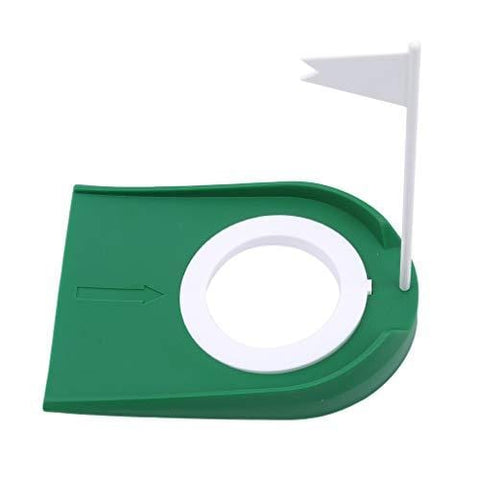 TraveT Golf Practice Putting Cup Mat with Hole and Flag Plastic for Indoor Outdoor Office Garage Yard