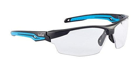 Bolle Safety Tryon Glasses with Clear Lens, Black/Blue, Clear