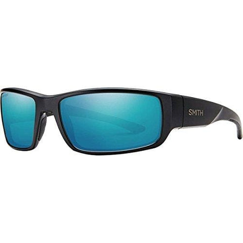 Smith Survey Polarized Sunglasses Matte Black/Polarized Blue Mirror, One Size - Men's