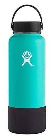 Hydro Flask Wide Mouth Stainless Steel Sports Water Bottle Matching BPA Free Flex Cap and Soft Silicone Flex Boot (Mint)