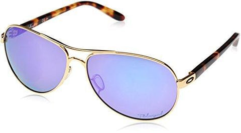 Oakley Women's Feedback Polarized Aviator, Polished Gold & Violet Iridium, 59 mm