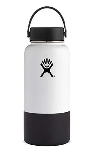 Hydro Flask Wide Mouth Stainless Steel Sports Water Bottle Matching BPA Free Flex Cap and Soft Silicone Flex Boot (White)