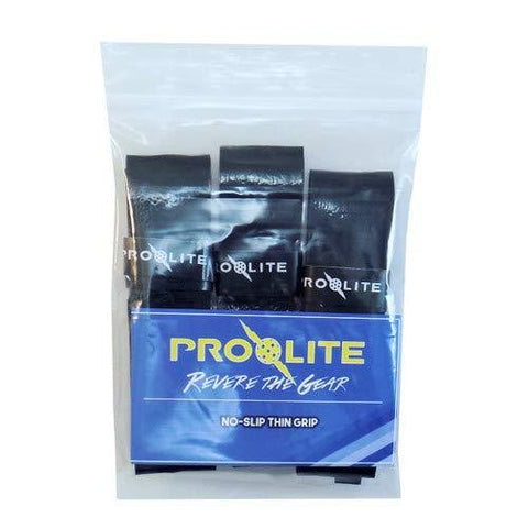 Prolite Tacky Thin Grips for Pickleball Paddles, Racquetball, Squash, Platform Tennis, Badminton and More - Set of 3 Black Grips