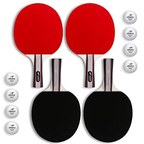 Advanced Spin Speed and Control for Indoor//Outdoor Table Tennis Keser Sports 5-Star Ping Pong Paddle Set 2-4 Player Racket Set Bundle with Professional ABS Balls and Portable Storage Bag Included