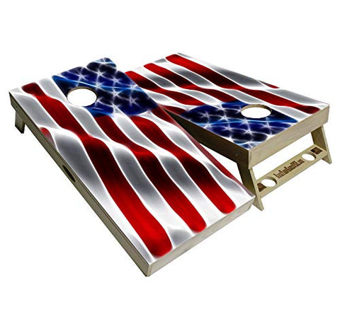 BackYardGamesUSA American Flag Series - Premium Cornhole Boards w Cupholders and a Handle - Includes 2 Regulation 4' x 2' Cornhole Boards w Premium Birch Plywood and 8 Cornhole Bags (Wavy Flag)