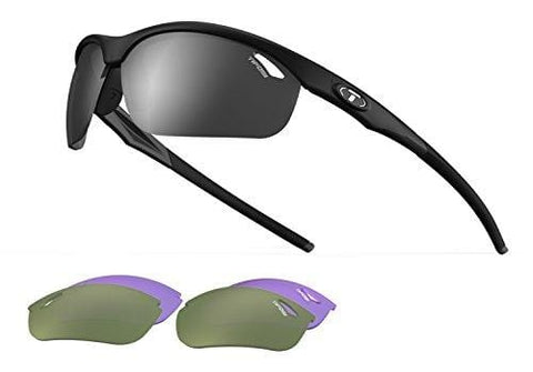 Veloce, Matte Black Golf Sunglasses with 3 interchangeable lenses