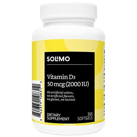 Amazon Brand - Solimo Vitamin D3 50 mcg (2000 IU), 365 Softgels, Value Size - One Year Supply