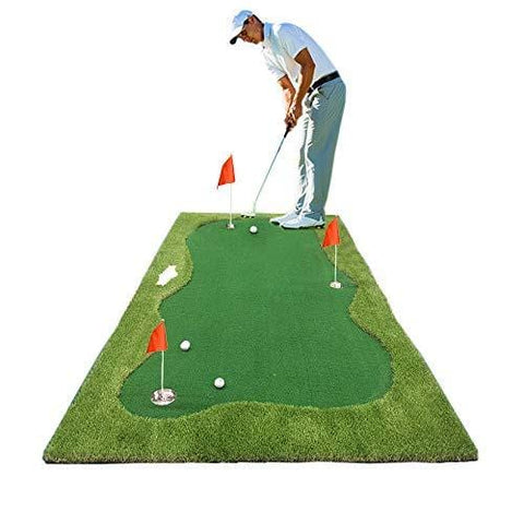 Synturfmats Golf Putting Green Mat Indoor/Outdoor Golf Training Aids System Real-Like Artificial Grass Golf Simulator Putting Trainer Set for Home, Office Practise Size 5'x10', 3 Cups