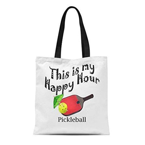 Ablitt Tote Bag Shoulder Bags Canvas Pickle Pickleball This Is My Happy Hour Ball Grocery bag Women's Handle Shoulder Tote Shopper Handbag