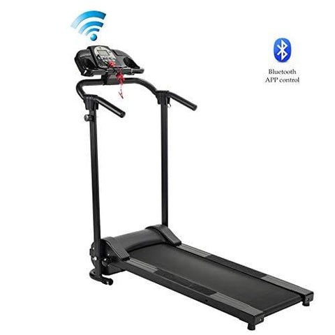 ZELUS Folding Treadmill Electric Motorized Running Machine with Downloadable Sports App Control Walking & Running OR Treadmill Mat, Cup Holder, MP3 Player & Wheels Easy (Treadmill with APP Control)