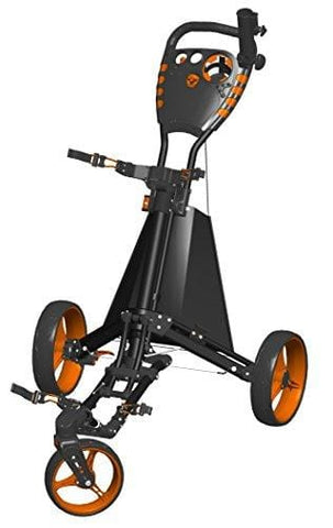 Spin It Golf Products Easy Drive Golf Push Cart, Black/Orange