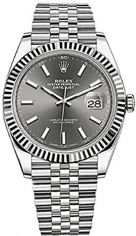 Men's Rolex Datejust 41 Dark Rhodium Dial Stainless Steel Watch on Jubilee Bracelet [product _type] Rolex - Ultra Pickleball - The Pickleball Paddle MegaStore