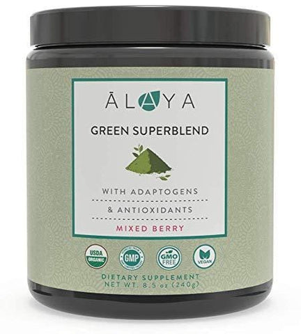 Alaya Organic Greens Powder - Superfood Powder with Adaptogens, Antioxidants & Probiotics - Certified Organic Non-GMO Super Greens Supplement Powder - 30 Servings - Berry Flavor Green Powder
